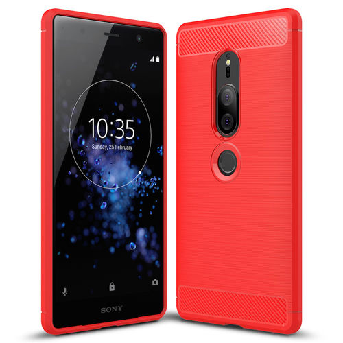 Flexi Slim Carbon Fibre Case - Sony Xperia XZ2 Premium - Brushed Red